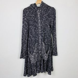 Free People Marled Gray Hoodie Long Cardigan